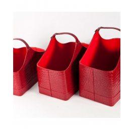 תיק עיתונים קרוקו אדום